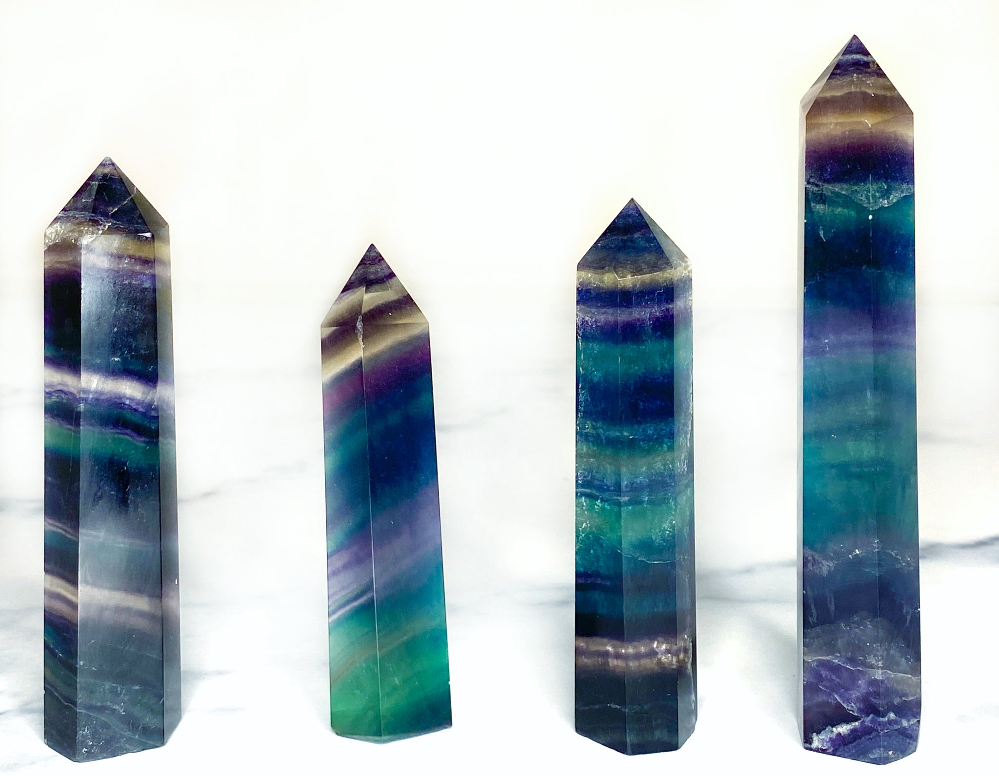 Rainbow Fluorite Towers - Medium