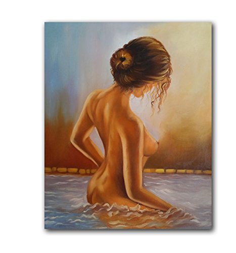 Female Nude Oil Painting Printed on Canvas, Nude Modern Canvas Art Wall Decor for Bathroom