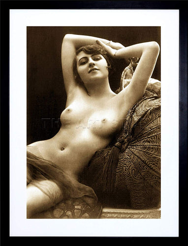 Victorian Nude Risque Vintage Erotic Sepia Framed Art Print