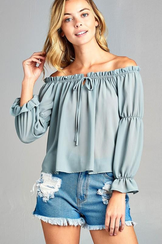 Women's Puff Long Sleeve Ruffled Front Tie Off Shoulder Top - TK Trends Boutique