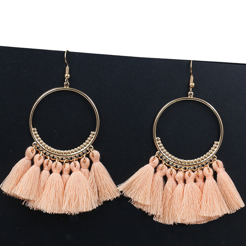Bohemian Round Long Drop Earrings - TK Trends Boutique
