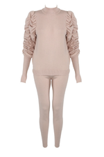 Beige Ruched Sleeve Loungesuit