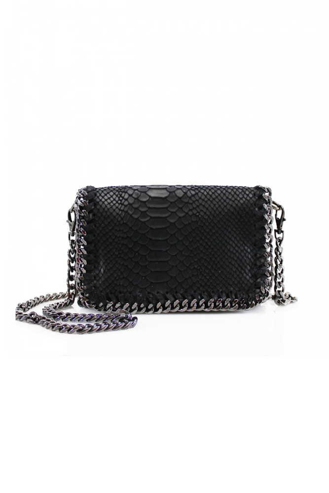 Black Snakeprint Leather Chain Bag