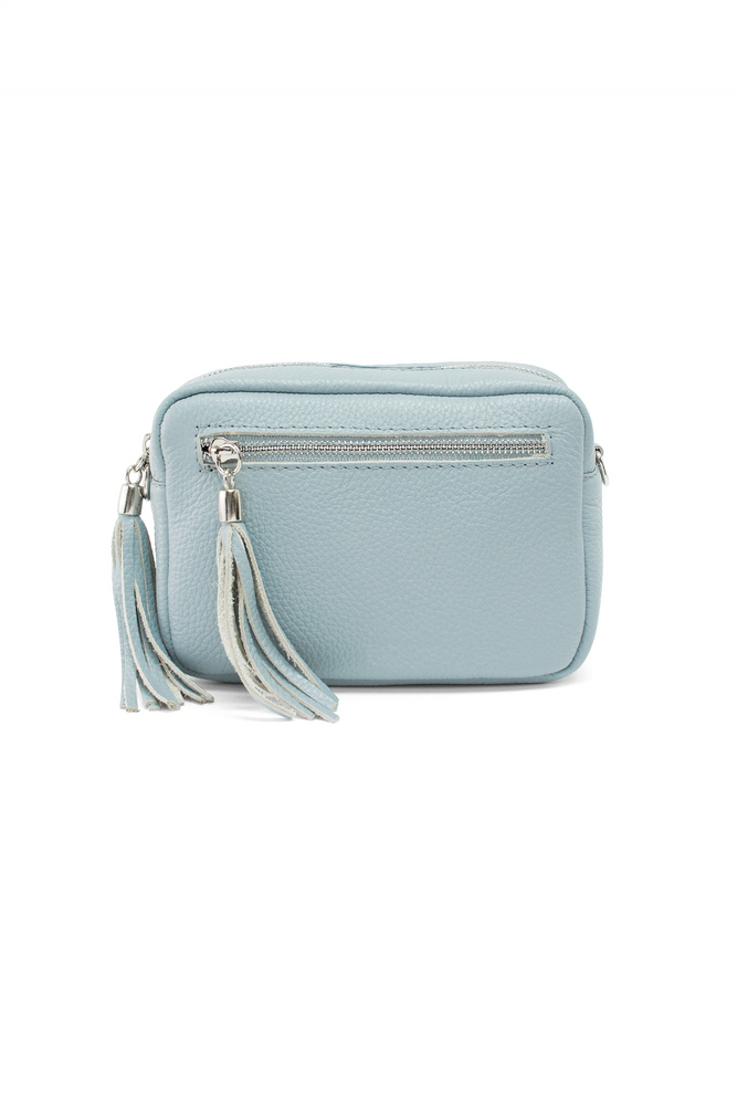 Blue Leather Tassle Cross Body Bag