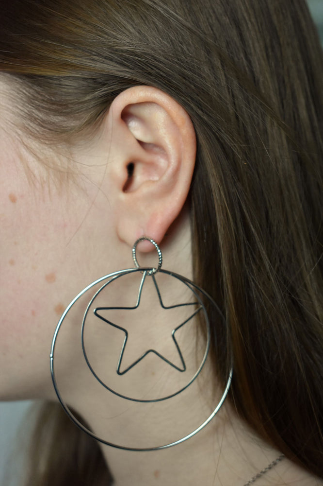 Silver Star Double Hoop Earrings