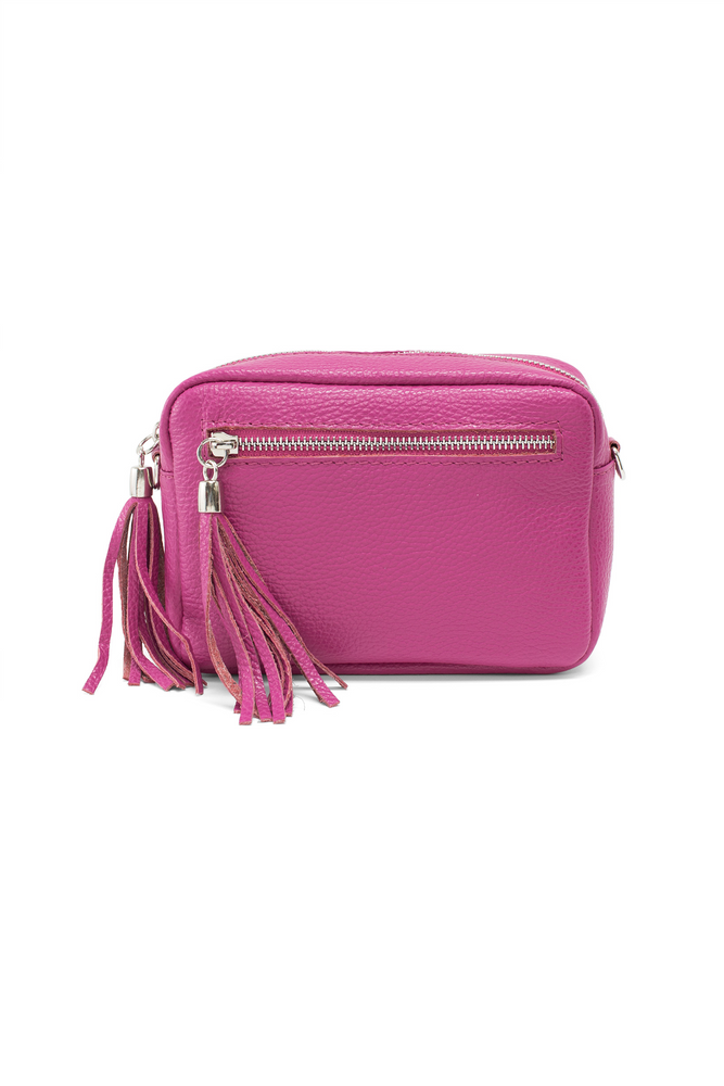 Fuchsia Leather Tassle Cross Body Bag