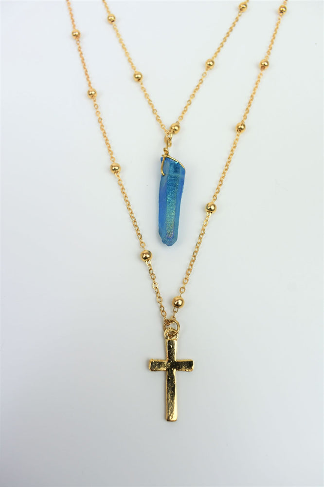 Gold Crystal & Cross Layered Necklace