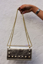 Gold Studded Leather Bag