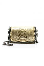 Gold Snakeprint Leather Chain Bag