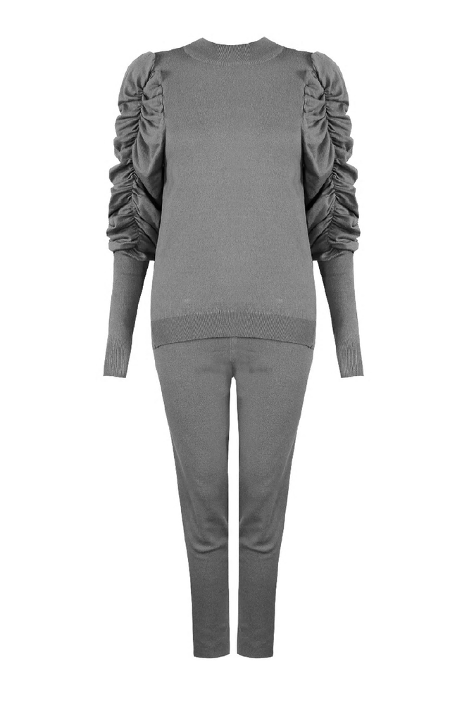 Grey Ruched Sleeve Loungesuit