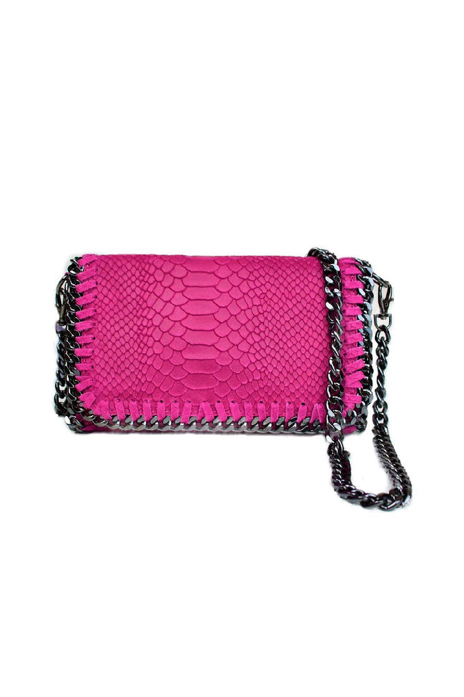 Hot Pink Snakeprint Leather Chain Bag