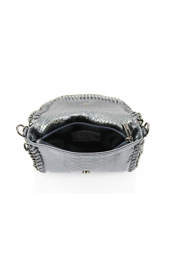 Silver Snakeprint Leather Chain Bag