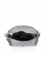 White Snakeprint Leather Chain Bag