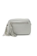 Grey Leather Tassle Cross Body Bag