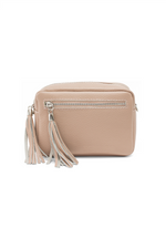Nude Leather Tassle Cross Body Bag