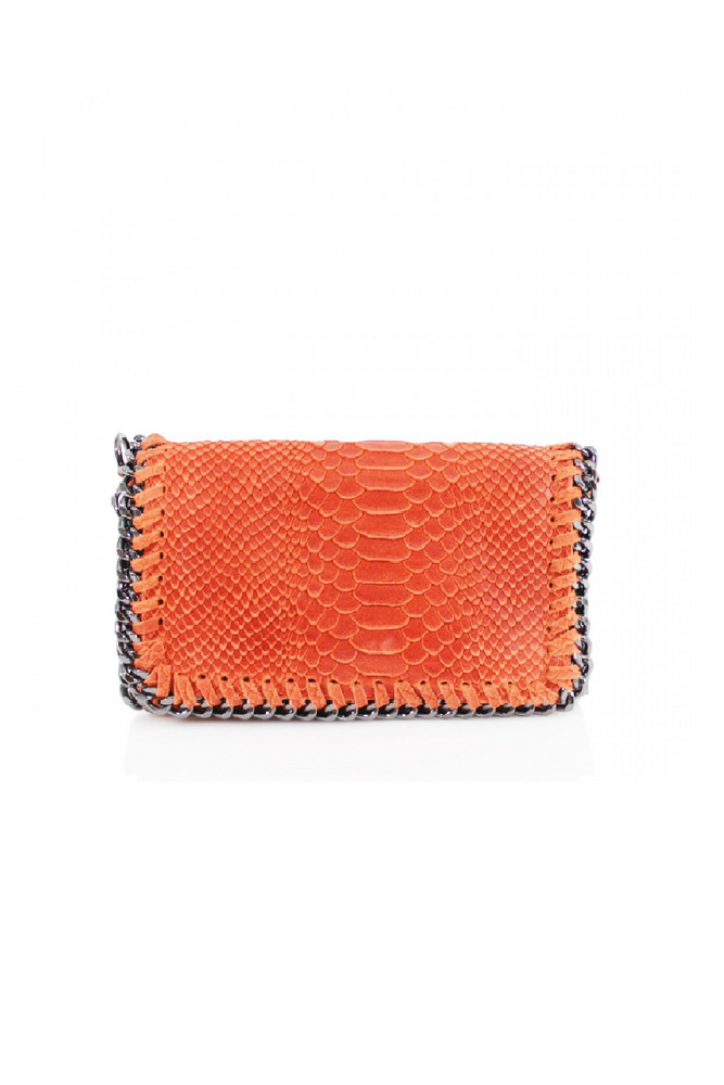 Orange Snakeprint Leather Chain Bag
