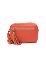 Orange Leather Tassle Cross Body Bag