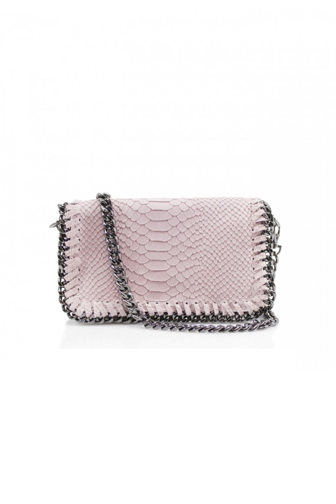 Light Pink Snakeprint Leather Chain Bag