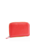 Red Leather Zipped Coin Purse