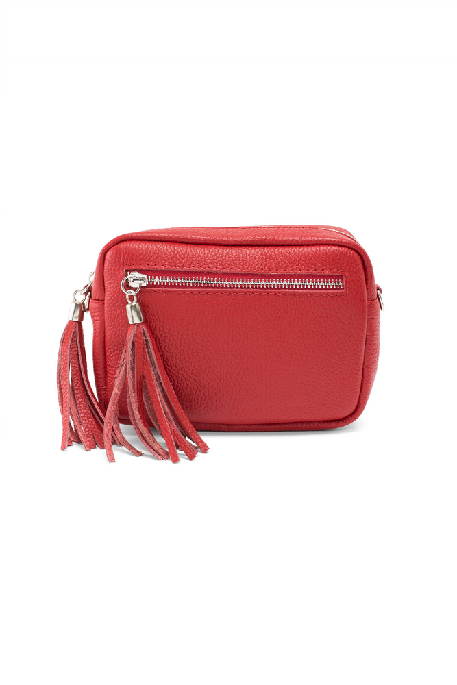 Red Leather Tassle Cross Body Bag