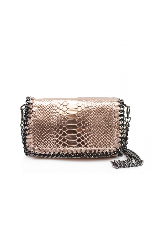 Rose Gold Snakeprint Leather Chain Bag