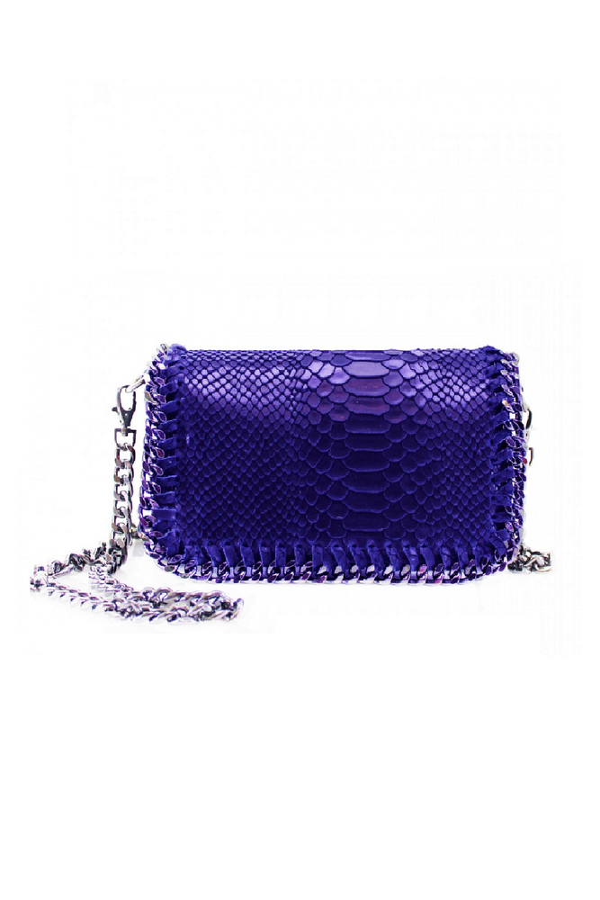 Royal Blue Snakeprint Leather Chain Bag