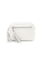 White Leather Tassle Cross Body Bag