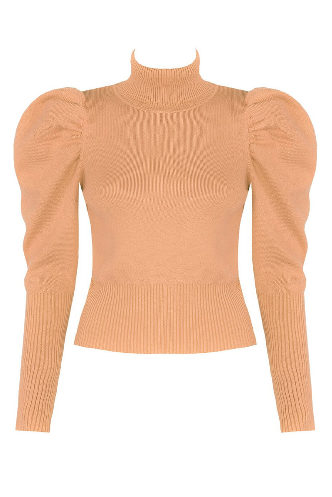 Beige Roll Neck Puff Sleeve Jumper