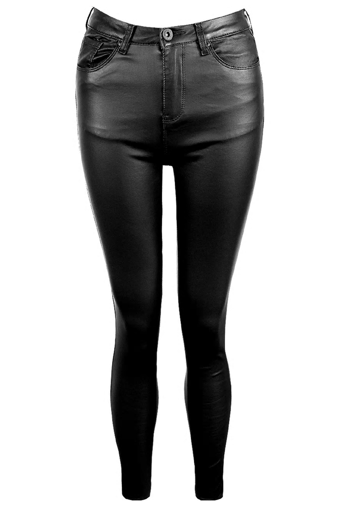 Black Faux Leather Jeans