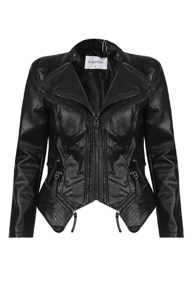 Black Faux Leather Double Collar Jacket