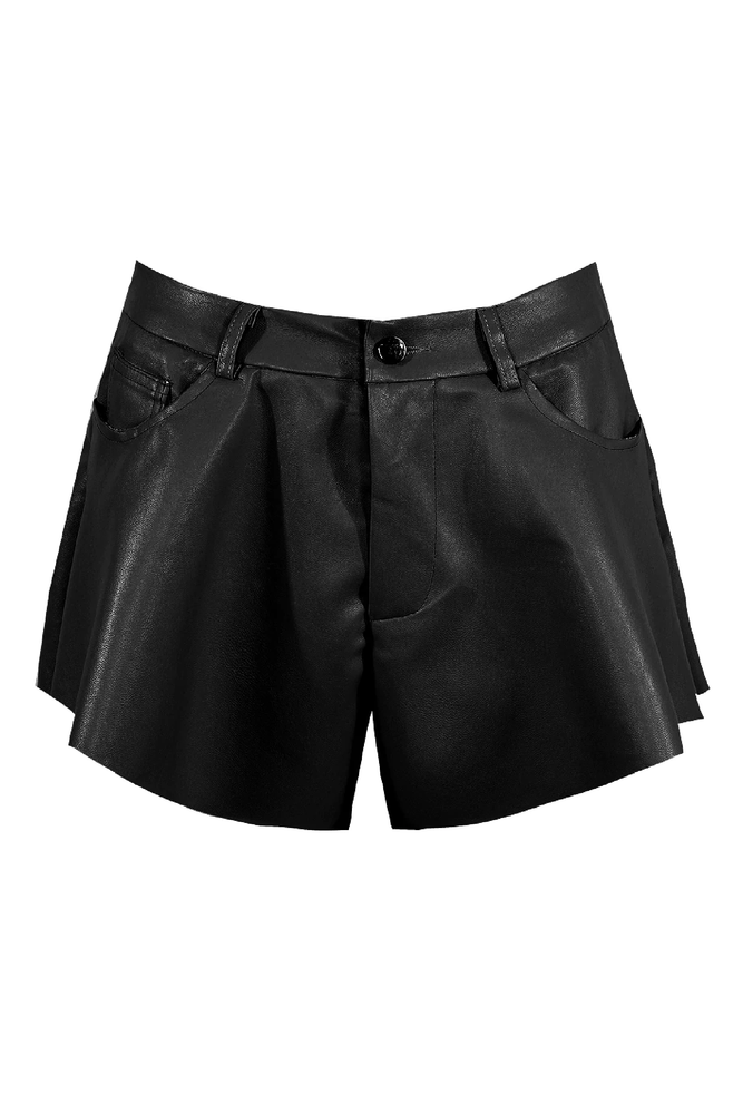 Black Faux Leather Flared Shorts