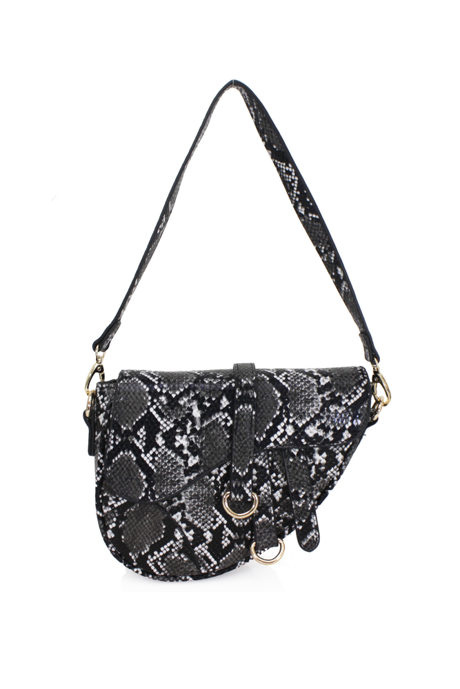 Black Snakeprint Saddle Bag