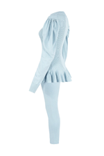 Baby Blue Ribbed Puff Sleeve Peplum Loungesuit