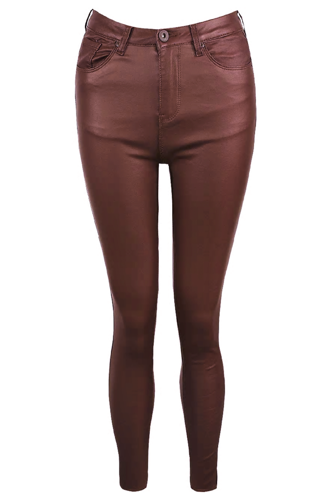 Burgundy Faux Leather Jeans