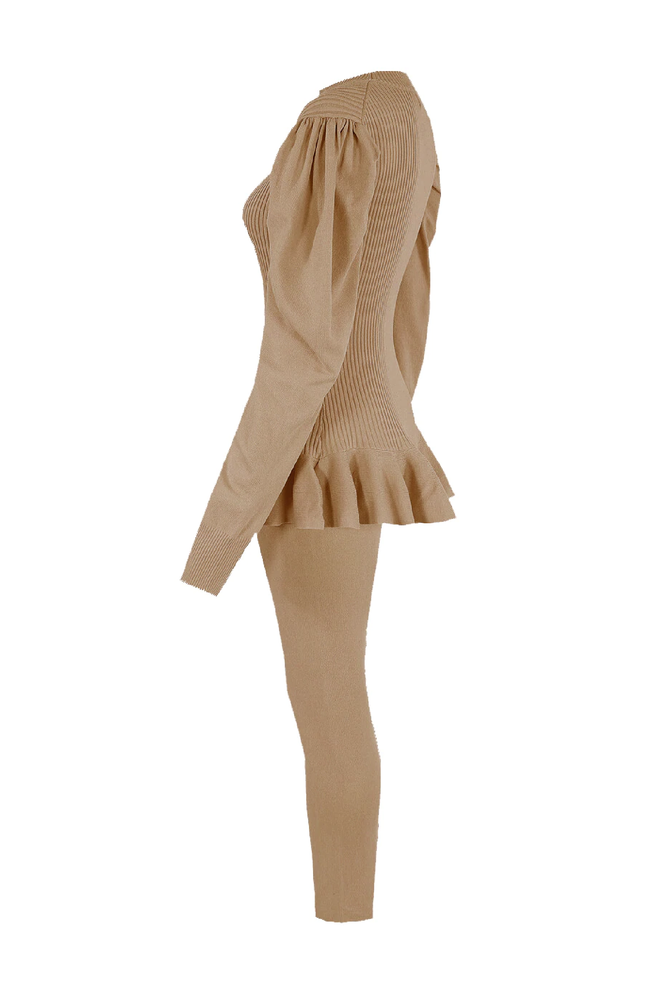 Camel Ribbed Puff Sleeve Peplum Loungesuit