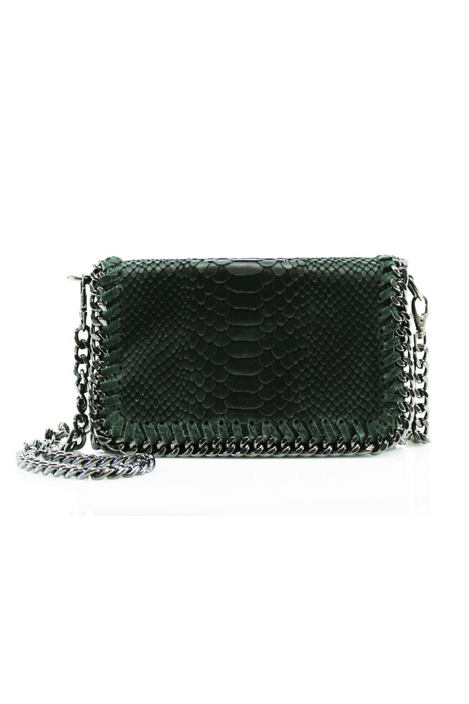 Dark Green Snakeprint Leather Chain Bag