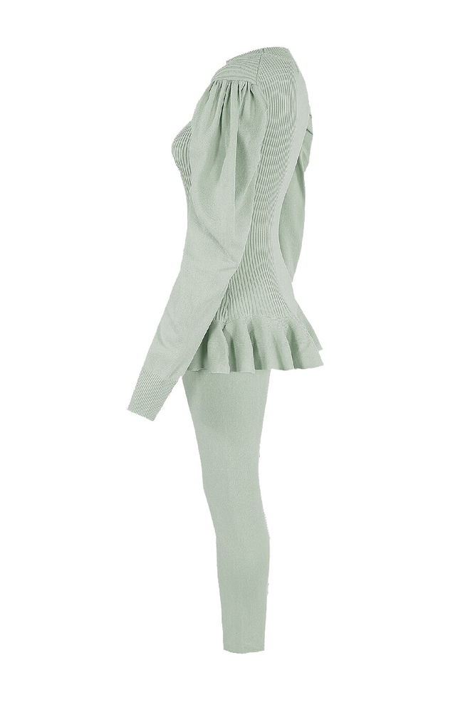Mint Green Ribbed Puff Sleeve Peplum Loungesuit