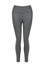 Grey PU High Waist Biker Leggings