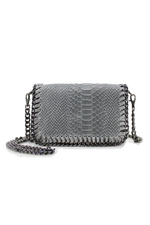 Grey Snakeprint Leather Chain Bag