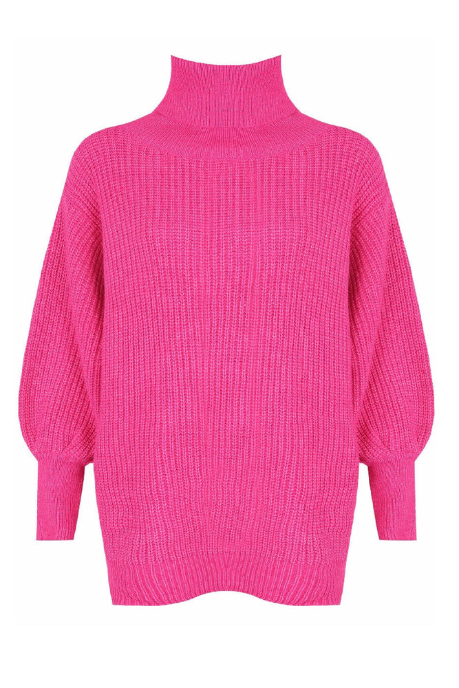 Hot Pink Oversized Roll Neck Jumper