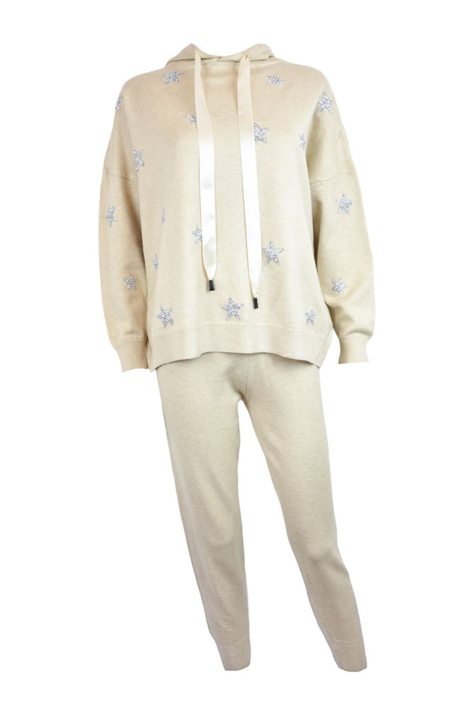 Beige Silver Star Knitted Loungesuit
