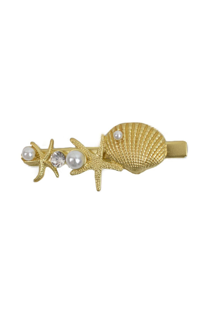 Gold Shell Starfish & Pearl Hairslide