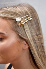 Gold Shell 2 Piece Hairslide Set