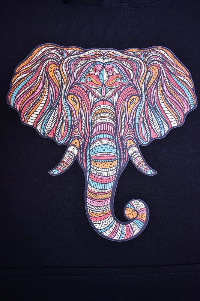 Black Striped Elephant Hoodie