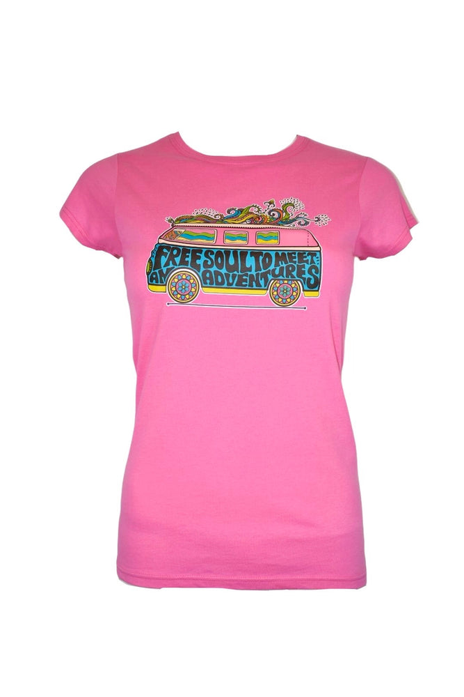 "Fuschia Pink Fitted ""Campervan"" T-Shirt"