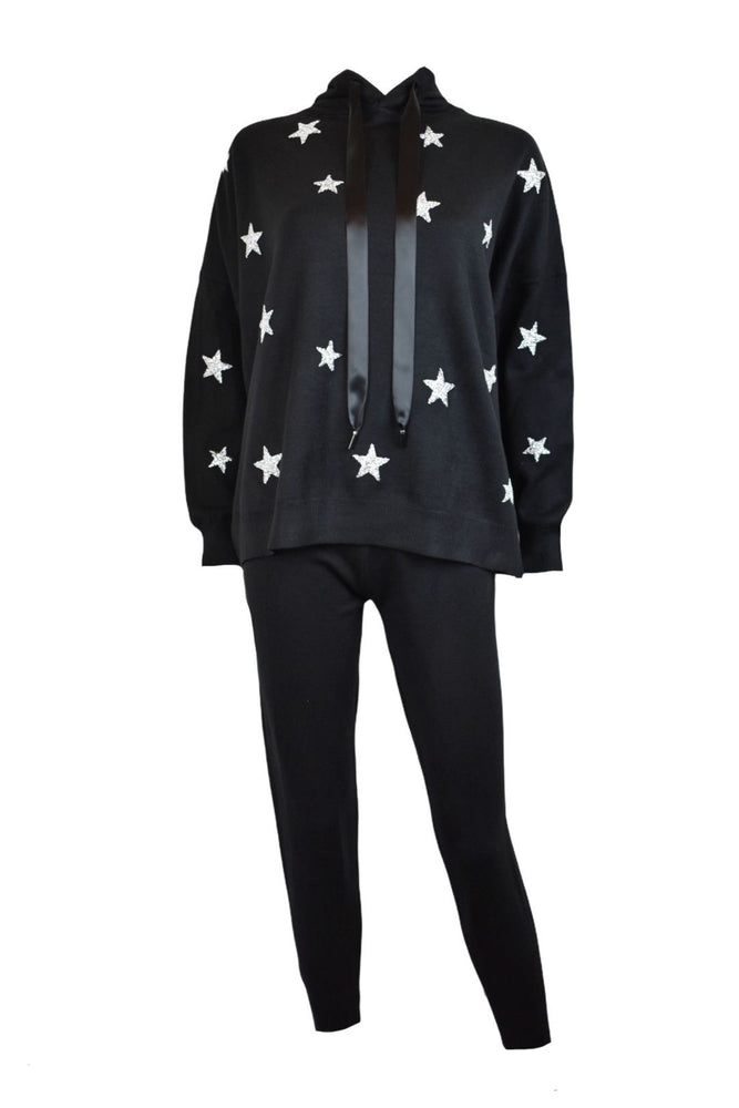 Black Silver Star Knitted Loungsuit