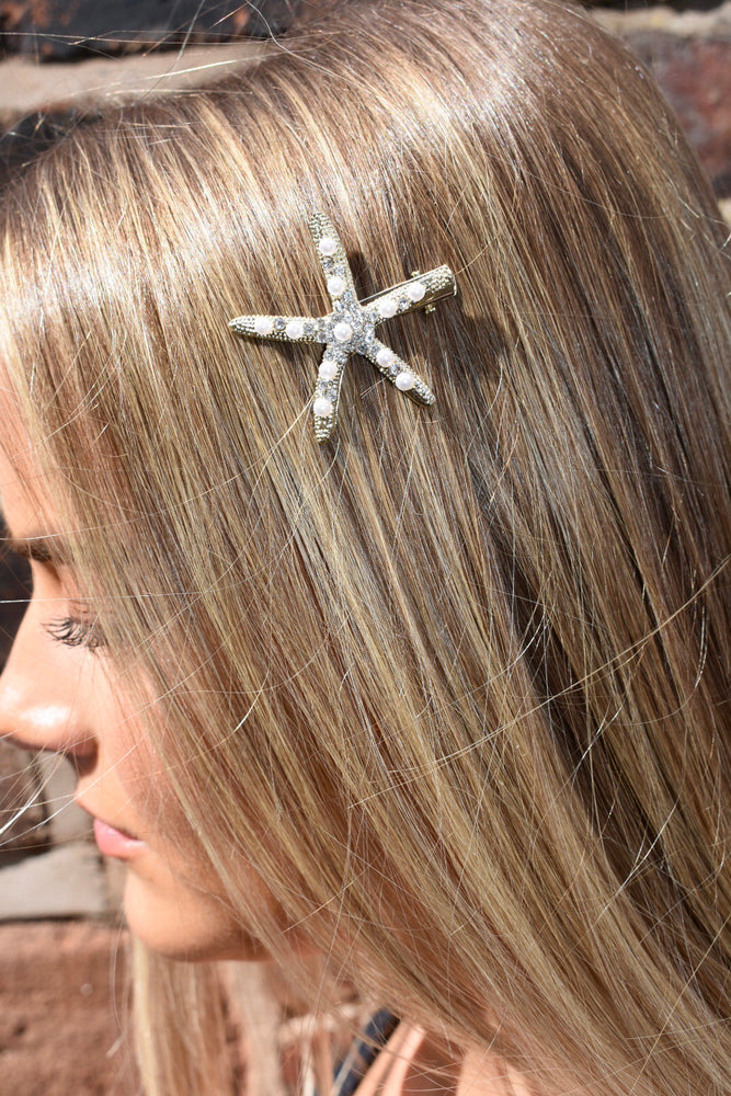 Gold Diamante Starfish Hairslide