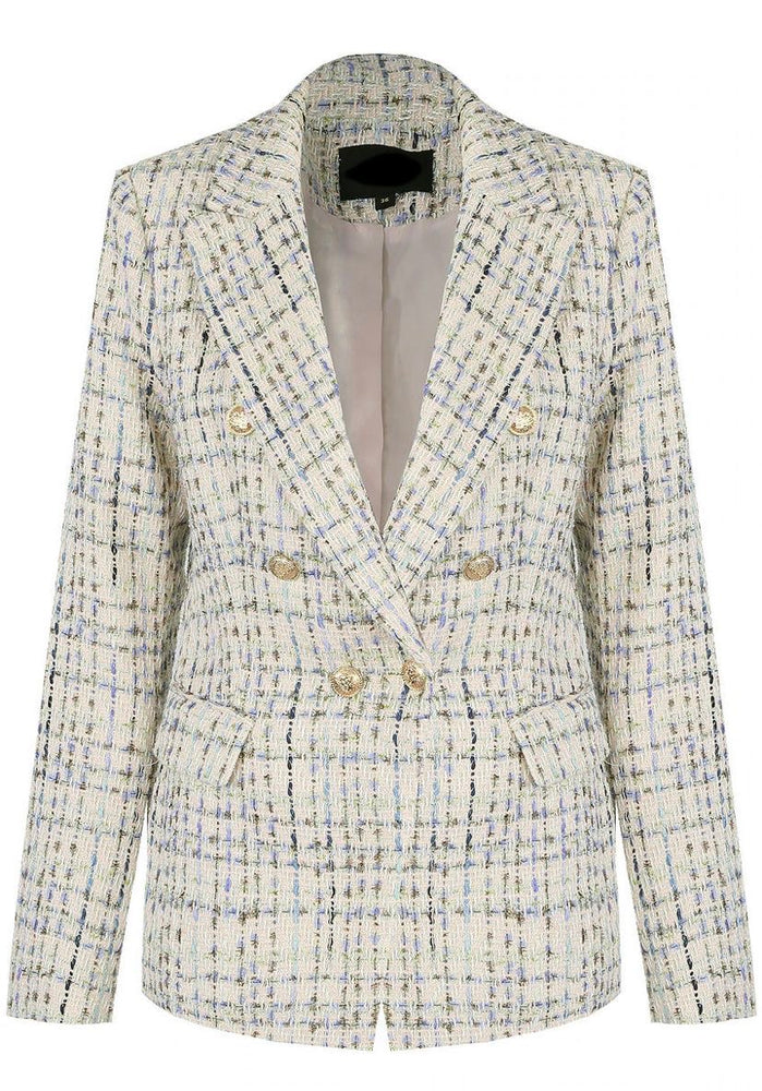 Beige & Turquoise Checked Tweed Blazer