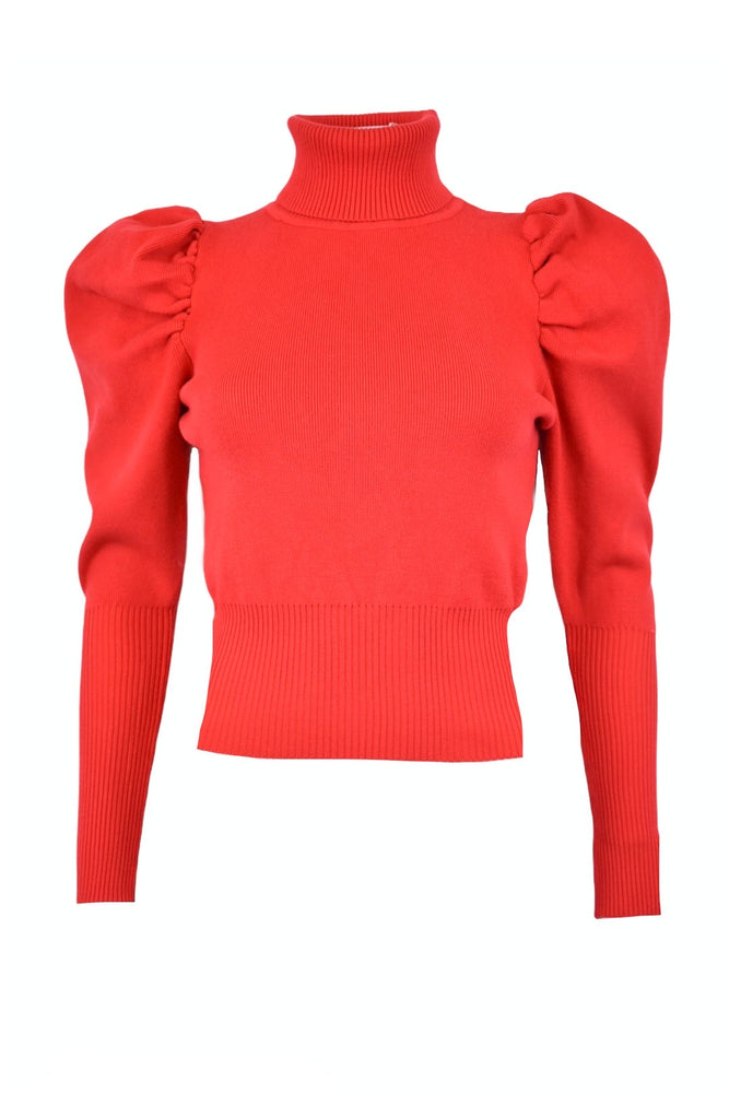 Red Roll Neck Puff Sleeve Jumper