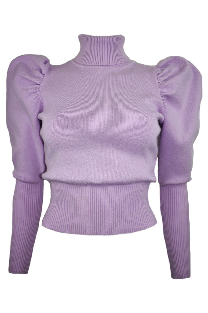 Lilac Roll Neck Puff Sleeve Jumper